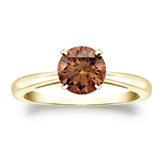Certified 18k Yellow Gold 4-Prong Brown Diamond Solitaire Ring 1.00 ct. tw. (Brown, SI1-SI2)