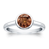 Certified Platinum Bezel Round Brown Diamond Ring 1.00 ct. tw. (Brown, SI1-SI2)