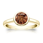 Certified 18k Yellow Gold Bezel Round Brown Diamond Ring 1.00 ct. tw. (Brown, SI1-SI2)
