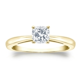 Certified 14k Yellow Gold 4-Prong Cushion Diamond Solitaire Ring 0.50 ct. tw. (H-I, SI1-SI2)