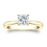 Certified 18k Yellow Gold 4-Prong Cushion Diamond Solitaire Ring 0.75 ct. tw. (H-I, SI1-SI2)