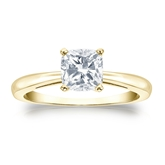 Certified 18k Yellow Gold 4-Prong Cushion Diamond Solitaire Ring 1.00 ct. tw. (I-J, I1-I2)
