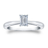 Certified 18k White Gold 4-Prong Emerald Diamond Solitaire Ring 0.33 ct. tw. (I-J, I1-I2)