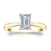 Certified 14k Yellow Gold 4-Prong Emerald Diamond Solitaire Ring 0.75 ct. tw. (I-J, I1-I2)