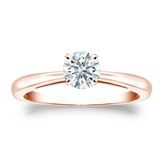 Certified 14k Rose Gold 4-Prong Hearts & Arrows Diamond Solitaire Ring 0.50 ct. tw. (H-I, I1-I2)