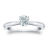 Certified 14k White Gold 4-Prong Hearts & Arrows Diamond Solitaire Ring 0.50 ct. tw. (H-I, I1-I2)
