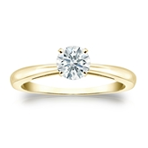 Certified 14k Yellow Gold 4-Prong Hearts & Arrows Diamond Solitaire Ring 0.50 ct. tw. (H-I, I1-I2)
