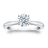 Certified 18k White Gold 4-Prong Hearts & Arrows Diamond Solitaire Ring 0.75 ct. tw. (H-I, I1-I2)
