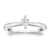 Certified 14k White Gold V-End Prong Marquise Diamond Solitaire Ring 0.25 ct. tw. (G-H, VS2)