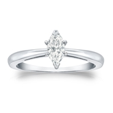 Certified 18k White Gold V-End Prong Marquise Diamond Solitaire Ring 0.50 ct. tw. (G-H, SI1)