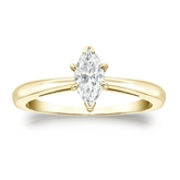 Certified 18k Yellow Gold V-End Prong Marquise Diamond Solitaire Ring 0.75 ct. tw. (G-H, VS1-VS2)