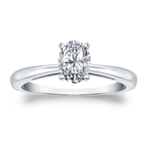 Certified 18k White Gold 4-Prong Oval Diamond Solitaire Ring 0.50 ct. tw. (H-I, I1)