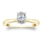 Certified 14k Yellow Gold 4-Prong Oval Diamond Solitaire Ring 0.50 ct. tw. (H-I, I1)