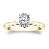 Certified 18k Yellow Gold 4-Prong Oval Diamond Solitaire Ring 0.75 ct. tw. (H-I, SI1-SI2)