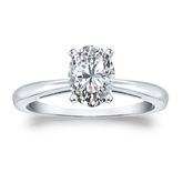 Certified 14k White Gold 4-Prong Oval Diamond Solitaire Ring 1.00 ct. tw. (G-H, VS1-VS2)