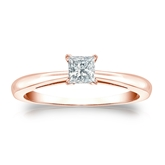 Certified 14k Rose Gold 4-Prong Princess Diamond Solitaire Ring 0.25 ct. tw. (I-J, I1-I2)
