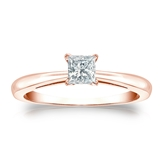 Certified 14k Rose Gold 4-Prong Princess Diamond Solitaire Ring 0.33 ct. tw. (I-J, I1-I2)