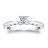 Certified 18k White Gold 4-Prong Princess Diamond Solitaire Ring 0.33 ct. tw. (I-J, I1-I2)