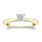 Certified 14k Yellow Gold 4-Prong Princess Diamond Solitaire Ring 0.33 ct. tw. (I-J, I1-I2)