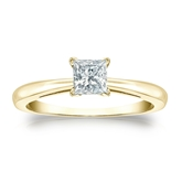 Certified 14k Yellow Gold 4-Prong Princess Diamond Solitaire Ring 0.50 ct. tw. (I-J, I1-I2)