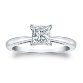 Certified 14k White Gold 4-Prong Princess Diamond Solitaire Ring 0.75 ct. tw. (H-I, SI1-SI2)