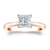 Certified 14k Rose Gold 4-Prong Princess Diamond Solitaire Ring 1.00 ct. tw. (I-J, I1-I2)