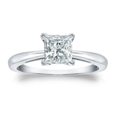 Certified 14k White Gold 4-Prong Princess Diamond Solitaire Ring 1.00 ct. tw. (I-J, I1-I2)