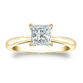 Certified 18k Yellow Gold 4-Prong Princess Diamond Solitaire Ring 1.00 ct. tw. (I-J, I1-I2)