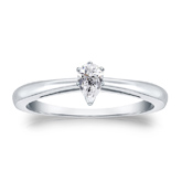 Certified 14k White Gold V-End Prong Pear Diamond Solitaire Ring 0.25 ct. tw. (G-H, SI1)