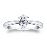 Lab Grown Diamond Solitaire Ring Pear 0.50 ct. tw. (G-H, VS1-VS2) in 14K White Gold 4-Prong