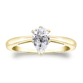 Certified 18k Yellow Gold V-End Prong Pear Diamond Solitaire Ring 0.75 ct. tw. (I-J, I1-I2)