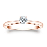 Certified 14k Rose Gold 4-Prong Round Diamond Solitaire Ring 0.25 ct. tw. (G-H, VS1-VS2)