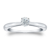 Certified 14k White Gold 4-Prong Round Diamond Solitaire Ring 0.25 ct. tw. (J-K, I2)