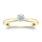 Certified 14k Yellow Gold 4-Prong Round Diamond Solitaire Ring 0.25 ct. tw. (I-J, I1-I2)