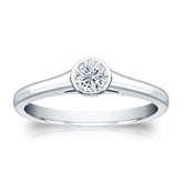 Certified 18k White Gold Bezel Round Diamond Solitaire Ring 0.25 ct. tw. (G-H, SI1)
