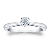 Certified 14k White Gold 4-Prong Round Diamond Solitaire Ring 0.33 ct. tw. (I-J, I1-I2)