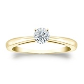 Certified 14k Yellow Gold 4-Prong Round Diamond Solitaire Ring 0.33 ct. tw. (I-J, I1-I2)