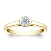 Certified 18k Yellow Gold Bezel Round Diamond Solitaire Ring 0.33 ct. tw. (I-J, I1-I2)