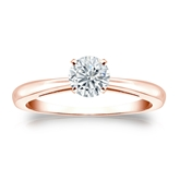 Certified 14k Rose Gold 4-Prong Round Diamond Solitaire Ring 0.50 ct. tw. (I-J, I1-I2)