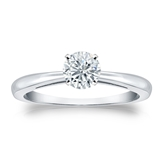 Certified 14k White Gold 4-Prong Round Diamond Solitaire Ring 0.50 ct. tw. (J-K, I2)