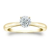 Certified 18k Yellow Gold 4-Prong Round Diamond Solitaire Ring 0.50 ct. tw. (I-J, I1-I2)