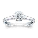 Certified 18k White Gold Bezel Round Diamond Solitaire Ring 0.50 ct. tw. (H-I, SI1-SI2)