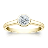 Certified 18k Yellow Gold Bezel Round Diamond Solitaire Ring 0.50 ct. tw. (H-I, SI1-SI2)