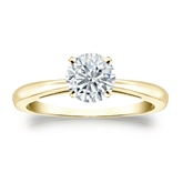 Certified 14k Yellow Gold 4-Prong Round Diamond Solitaire Ring 0.75 ct. tw. (I-J, I1-I2)
