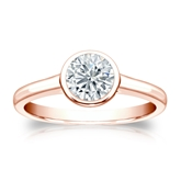 Certified 14k Rose Gold Bezel Round Diamond Solitaire Ring 0.75 ct. tw. (I-J, I1-I2)