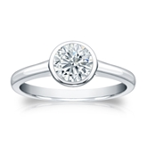 Certified 18k White Gold Bezel Round Diamond Solitaire Ring 0.75 ct. tw. (I-J, I1-I2)