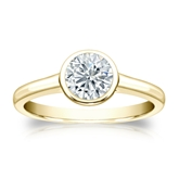 Certified 14k Yellow Gold Bezel Round Diamond Solitaire Ring 0.75 ct. tw. (I-J, I1-I2)