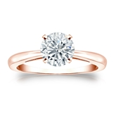 Certified 14k Rose Gold 4-Prong Round Diamond Solitaire Ring 1.00 ct. tw. (G-H, VS2)