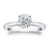 Certified Round Lab Grown Diamond Solitaire Ring in 14k White Gold 4-Prong 1.00 ct. tw. (I-J, SI1-SI2)
