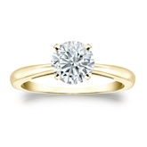 Certified 14k Yellow Gold 4-Prong Round Diamond Solitaire Ring 1.00 ct. tw. (E-F, I1-I2)